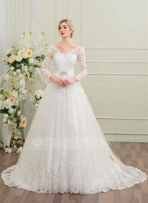 beading a wedding dress ball gown v neck court train tulle lace wedding dress with