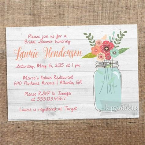 printable bridal shower invitations rustic rustic mason jar invite printable bridal shower