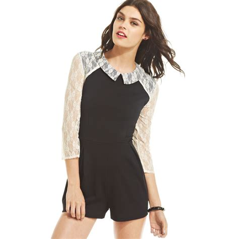 Guess Gs White Lace Romper keds juniors peterpancollar lace romper in black lyst