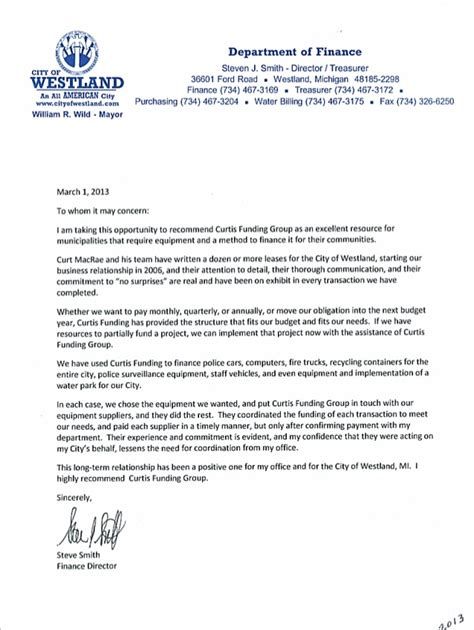 Letter Of Recommendation Exle Finance Cfg Reference Letter Westland