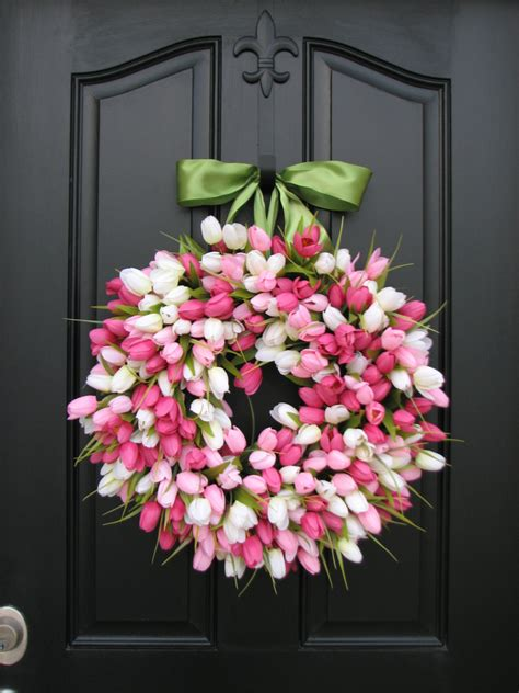 door wreaths for spring spring tulip wreath front door wreath door wreaths