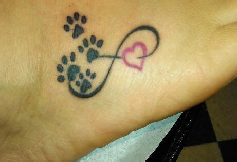 infinity tattoo with dog paw infinity paw print on my foot my tattoos pinterest