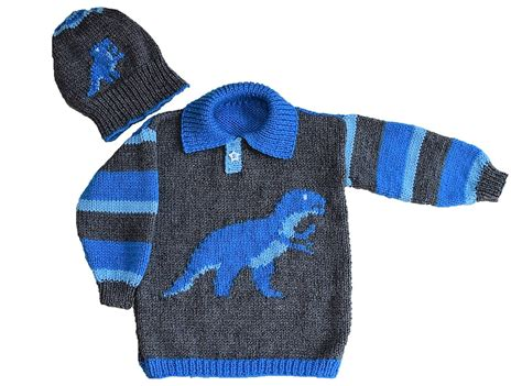 free knit pattern dinosaur sweater dinosaur child s sweater and hat tyrannosaurus