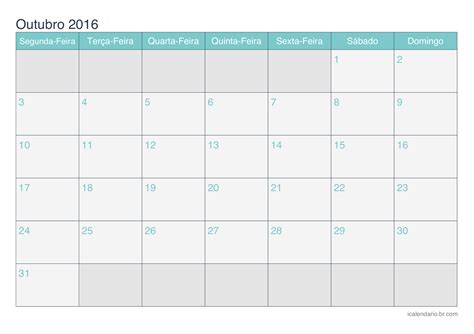 Calendario G D Calend 225 Outubro 2016 Para Imprimir Icalend 225 Br