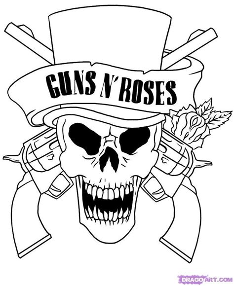 guns and roses coloring page skull adult fantasy vire guns n roses coloring pages