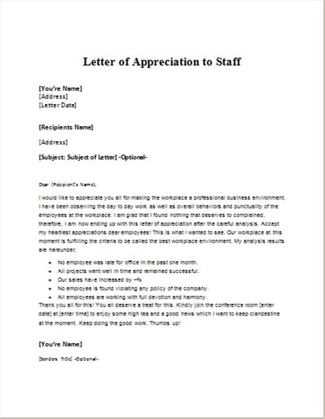 appreciation letter to the staff employee session announcement letter