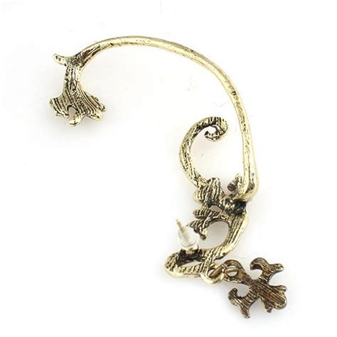 boucle d oreille elfique dor 233 e avec croix d oreille