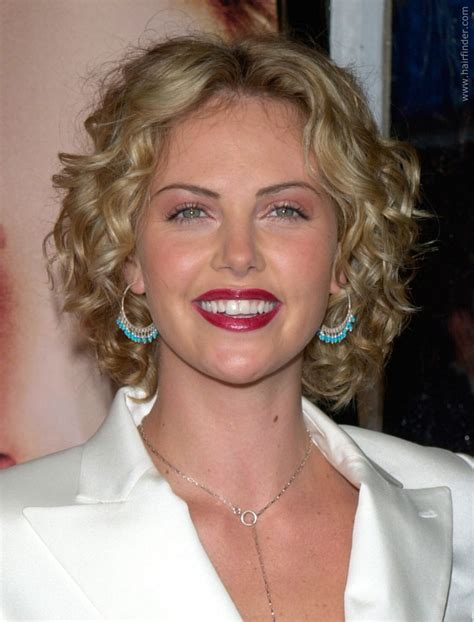 Charlize Theron   Well above the shoulders curly bob haircut