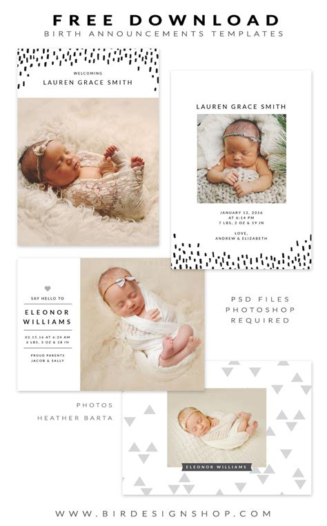 Free Birth Announcement Template by Free Birth Announcements Templates For Photoshop