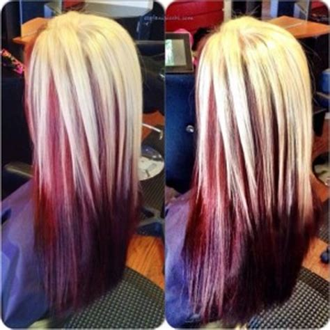hairstyles red underneath hairstyles with blond on top red underneath hairstyle