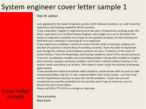 cover letter for system engineer system engineer cover letter