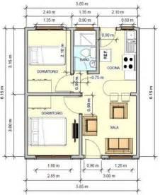 Small Home Floorplans Plano De Casa Con Medidas 36m2 2 Dormitorios Projetos