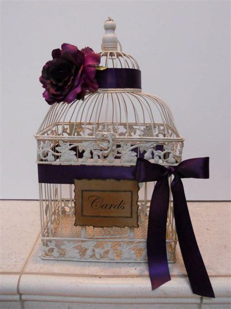 large vintage style wedding birdcage card holder with deep