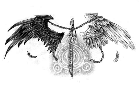 half angel half demon tattoo designs wings black white wings on