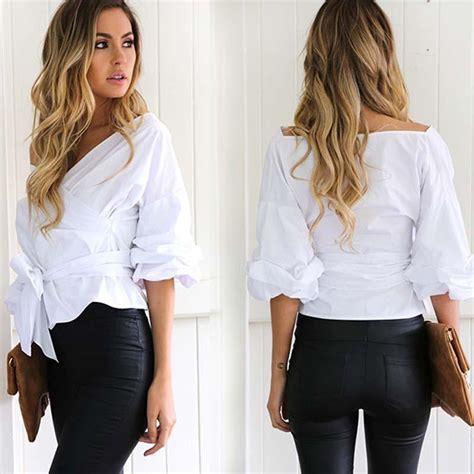 Best Quality Women Fashion White Ruffles Blouse V Neck