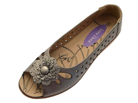 cut out flat shoes womens faux leather comfort cut out flat shoes flower