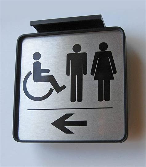 bathroom signages ceiling mount directional signs and hallway directional