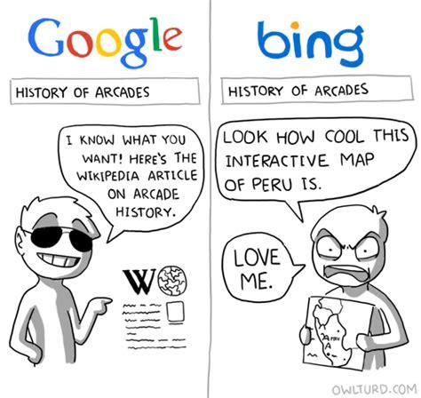 Funny Google Memes - google vs bing funny memes