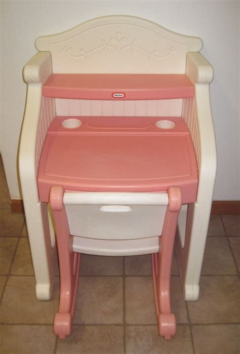tikes desk child play size pink white