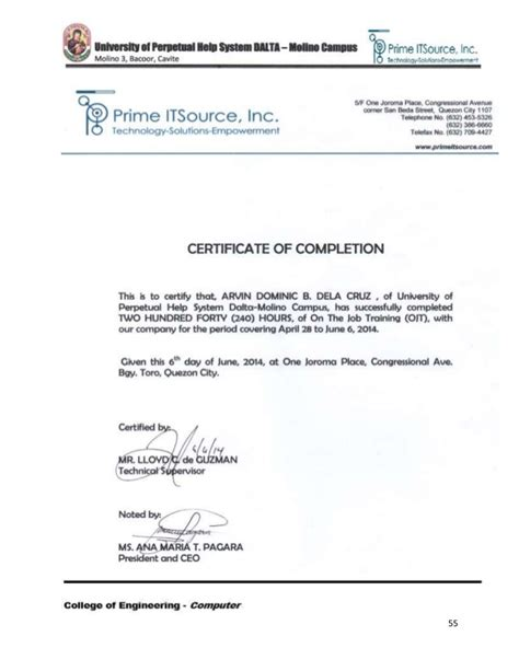 certificate of ojt completion template ojt narrative report