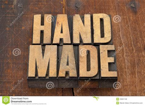 Is Handmade One Word - handmade in letterpress type royalty free stock photos