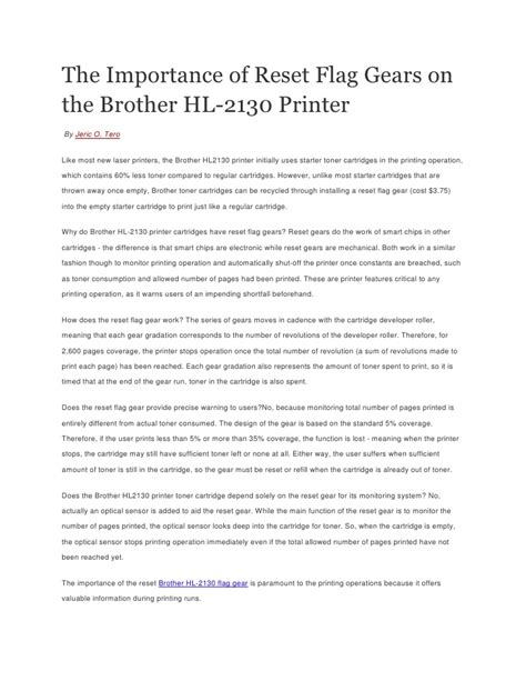 resetting brother hl 2130 the importance of reset flag gears on the brother hl 2130