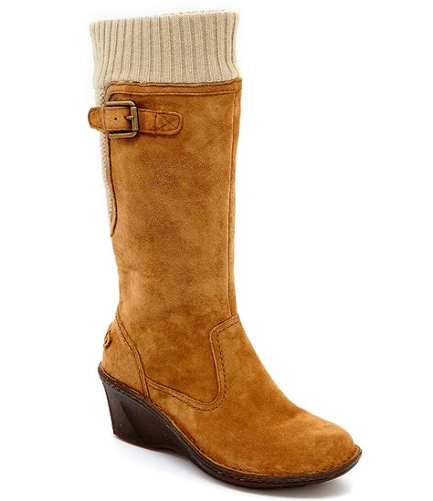 wedge boot ugg 174 skyfall sweater cuff suede cold weather wedge boots