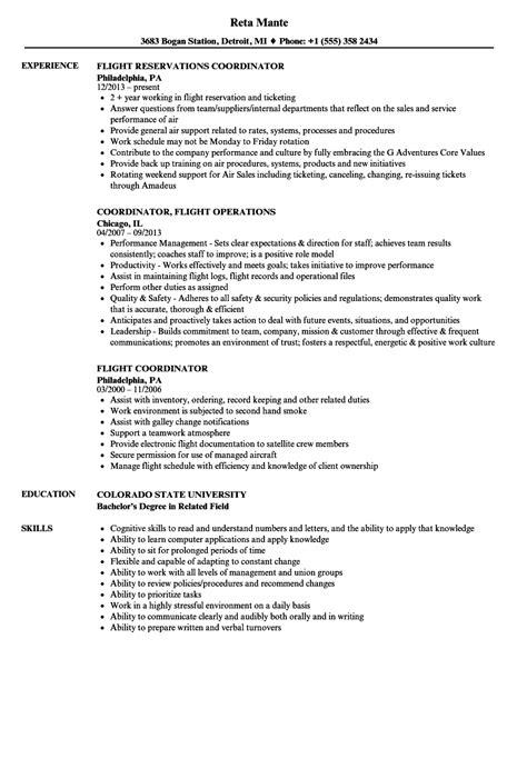 Flight Coordinator Sle Resume by Cool Flight Coordinator Resume Sle Pictures Inspiration Exle Resume Ideas Alingari