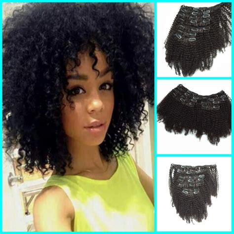 pics of short hair with weave clips 8a mongolian afro kinky curly clip ins african american
