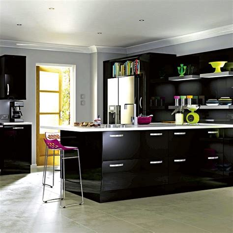 kitchen unit ideas it high gloss black kitchen from b q budget kitchen