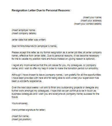 resignation letter due  personal reasons sample