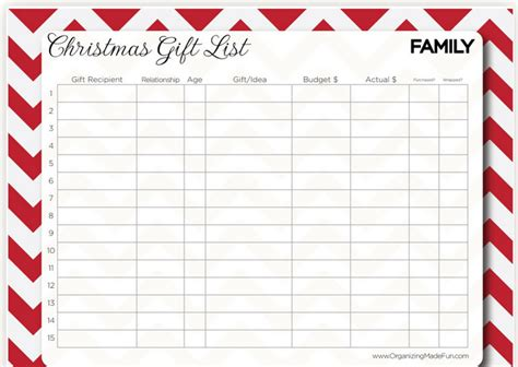 gift chart template free printable shopping lists deal wise