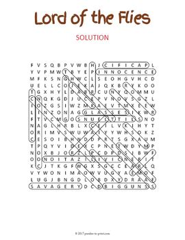 hidden symbols in lord of the flies lord of the flies word search puzzle by puzzles to print tpt