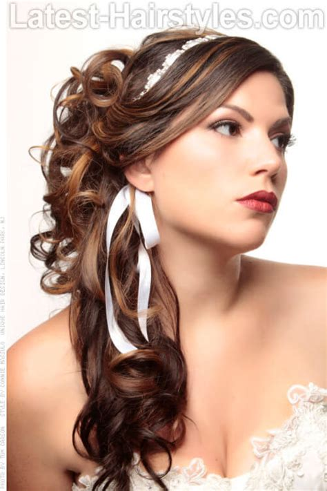 half up half down hairstyles with ribbon 36 curled hairstyles tending in 2018 so grab your hair