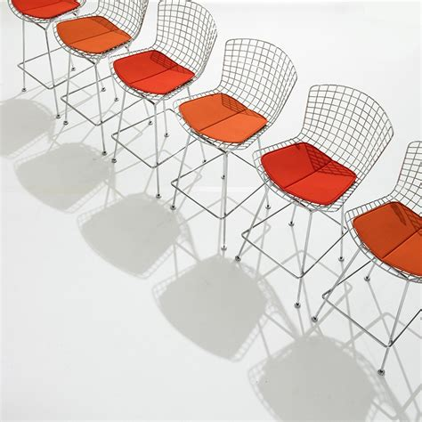 Bertoia Bar Stool With Seat Pad by Bertoia Bar Height Stool With Cushion By Knoll The