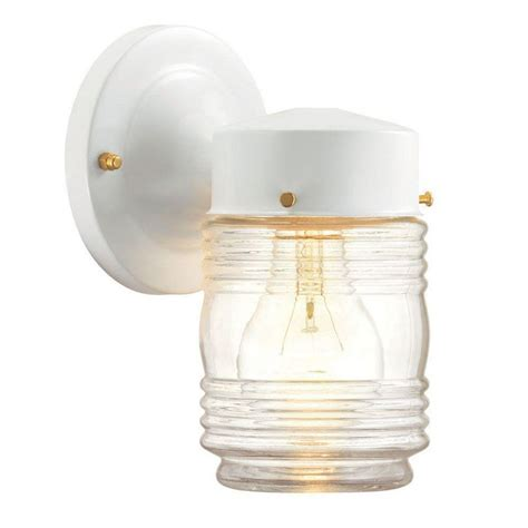outdoor white lights hton bay 1 light outdoor matte white jelly jar wall