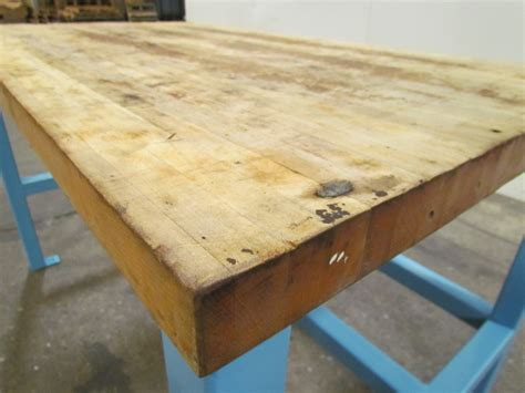 butcher block bench industrial butcher block workbench table welded steel