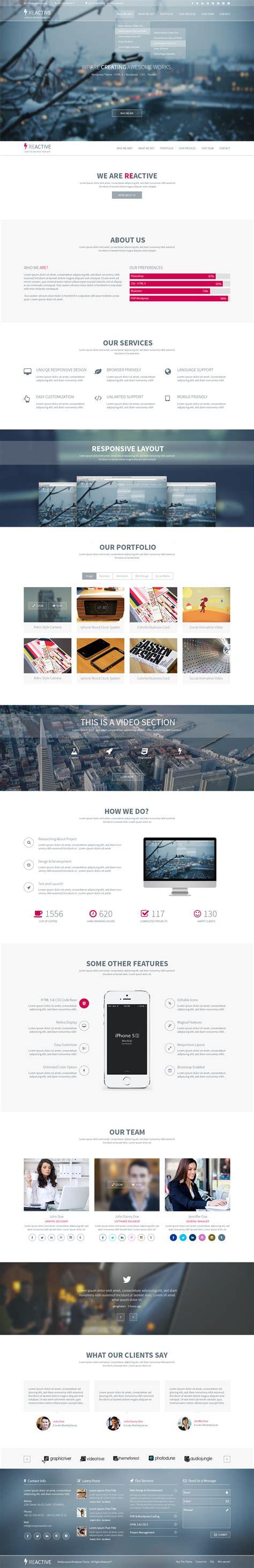 html reactive design reactive multipurpose psd template website templates on