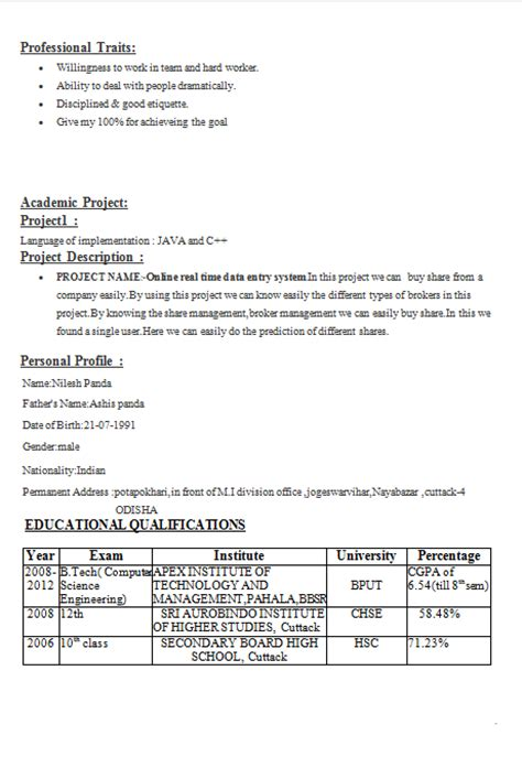resume format for indian students simple resume for engineering students
