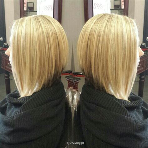 long graduated bob hairstyle blonde highlight and long graduated bob created by geneva