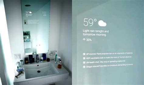 smart bathroom mirror now google s android smart mirror to replace your boring