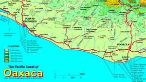 map mexico west coast regional coast of oaxaca map