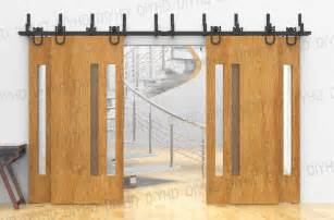 Tracks For Sliding Closet Doors Horseshoe Bypass Sliding Barn Wood Closet Door Rustic Black Barn Door Track Hardware For 4 Doors
