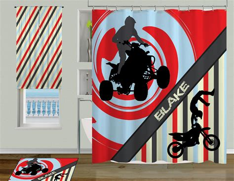 motocross curtains atv sport shower curtain for boys with motocross racer or