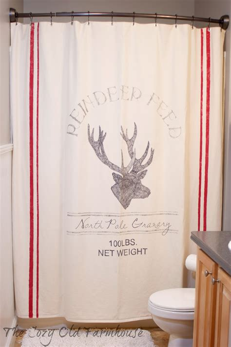 reindeer shower curtain the cozy old quot farmhouse quot a christmas feed sack shower curtain