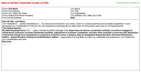 District Manager Cover Letter District Manager Cover Letter