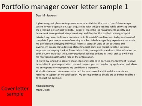 cover letter for portfolio exle portfolio manager cover letter