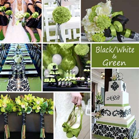 black white and green wedding colors