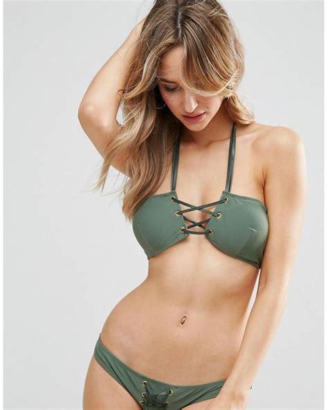 Ll Halter Veve Green lyst asos faux leather trim bandeau top with halter in green