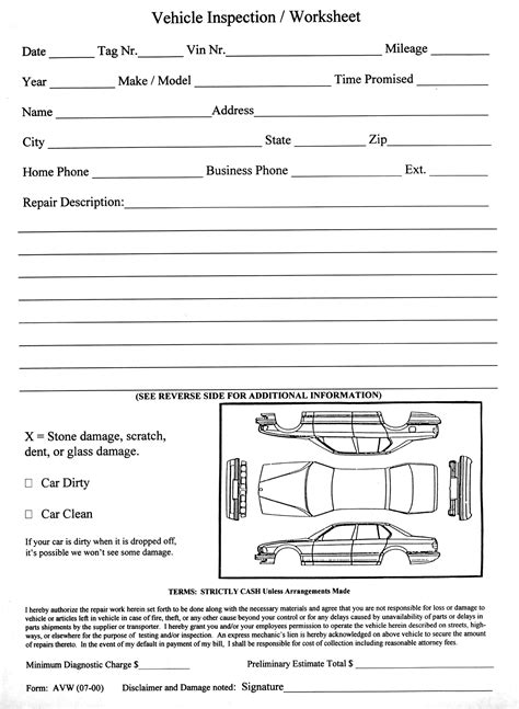 Vehicle Inspection Worksheet Aftermarket Specialties Vehicle Inspection Form Template